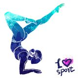 Bright watercolor silhouette of a stretching girl. Vector sport illustration royalty free illustration