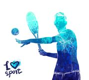 Bright watercolor silhouette of tennis player. Vector sport illustration. Graphic figure of the athlete. Active people. Recreation lifestyle. Man. Logo I love royalty free illustration