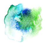 Bright watercolor splash with cute heart and flowers pattern. Stock Image
