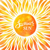 Bright watercolour sunny background. Royalty Free Stock Photography