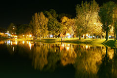 Bright Waterfront. Brightly lit waterfront with an island of trees and BBQ stands Royalty Free Stock Images