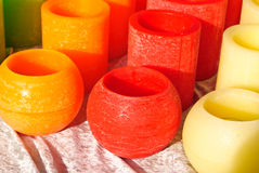 Bright Wax Candle Holders Royalty Free Stock Photos