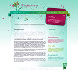 Bright web site layout. Bright blue web site layout design with floral background and colorful header Royalty Free Stock Images