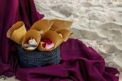 Bright wedding bouquet of summer dahlias and roses stock photos