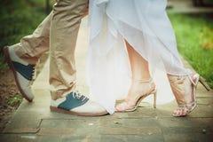 Bright wedding shoes Stock Photo