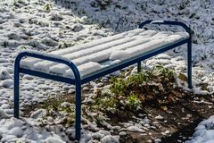 A bright wet wooden painted blue color beautiful bench with blue metal legs with white snow stands on a green grass with yellow royalty free stock photography