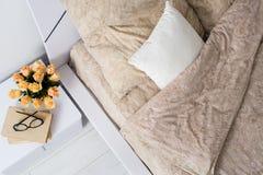 Bright white bedroom Stock Image