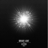 Bright white flash of light. The white radiant star. Abstract festive glowing lights . Glare bokeh. Vector illustration Royalty Free Stock Photos