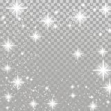 Bright white flickering stars over light grey checkered backgrou. Nd. Silver twinkling sparkling beautiful abstract shimmering frame layout. Overlay Christmas Stock Image