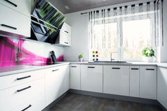 Bright white kitchen. View of interior of bright white kitchen Stock Photography