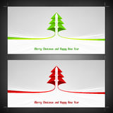 Bright wide format christmas card template with green and red ribbon stripe Royalty Free Stock Image