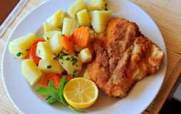 Bright wiener schnitzel Stock Photography