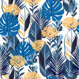 Bright wild botanical jungle leaves pattern, tropical seamless,. Hydenyear flower for fashion fabric and all prints on white background in vector vector illustration