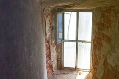 Bright window in the dungeon. Or in the bunker stock photo