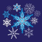 Bright winter beautiful snowflakes Royalty Free Stock Photo