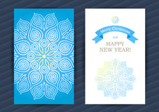 Bright Winter Holidays cards with snowflakes. Bright Winter Holidays cards with large white snowflake. Place for your text. Template frame design for banner royalty free illustration