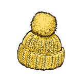 Bright winter knitted hat with pompom. Sketch style illustrations isolated on background. Hand drawn woolen hat with a big fluffy pompom, winter accessory Stock Photography
