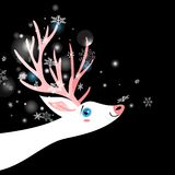 Bright winter New Year postcard with a white deer. On a dark background with snowflakes vector illustration