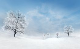 Bright winter plains with bare deciduous trees at calm daylight royalty free illustration