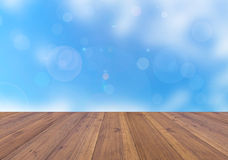 Bright winter season background and perspective wooden plank Royalty Free Stock Photography