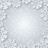 Bright winter white square frame with paper cut out snowflake decoration. Bright winter square frame with paper cut out snowflake decoration. Vector illustration royalty free illustration