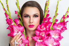 Bright woman with big bouquet Royalty Free Stock Photography