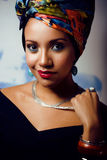 Bright woman with creative make up, shawl on head Royalty Free Stock Photography