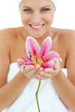 Bright woman holding a flower Stock Photos