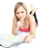 Bright woman reading a book Stock Image