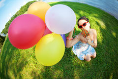 Bright woman in sunglasses Royalty Free Stock Images