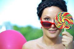 Bright woman in sunglasses Royalty Free Stock Photos