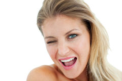 Bright Woman winking Royalty Free Stock Photography
