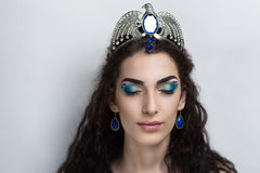 Bright woman. Young beautiful girl lady woman model Miss fairy tale character witch sorceress princess faery. The perfect bright make-up, expressive eyebrows Stock Photography