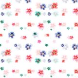 Bright wonderful sophisticated elegant tender beautiful floral herbal gorgeous bright cute spring colorful mallow different shapes. Pattern watercolor hand Stock Photos