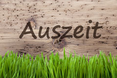Bright Wooden Background, Gras, Auszeit Means Downtime Stock Image