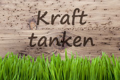 Bright Wooden Background, Gras, Kraft Tanken Means Relax Royalty Free Stock Photo
