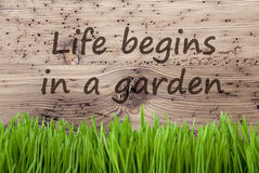 Bright Wooden Background, Gras, Quote Life Begins In A Garden Royalty Free Stock Photography