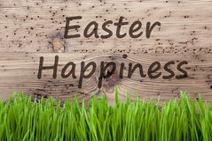 Bright Wooden Background, Gras, Text Easter Happiness Stock Photo