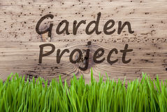 Bright Wooden Background, Gras, Text Garden Project Royalty Free Stock Image