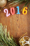 Bright wooden background about Happy New Year 2016 Stock Photo