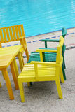 Bright wooden chairs Stock Photography