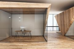 Bright wooden office interior. With furniture and city view. 3D Rendering royalty free illustration
