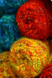 Bright Yarn. Macro of red, yellow and blue yarn skiens royalty free stock photos