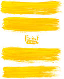 Bright yellow acrylic brush strokes Royalty Free Stock Images