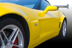 Bright yellow American racing car. On a gradient background Royalty Free Stock Images