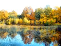 Bright yellow autumn park . with reflected trees in pond. Waterc. Bright yellow autumn park with reflected trees and blue sky in pond. Watercolor Royalty Free Stock Photo