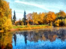 Bright yellow autumn park . with reflected trees in pond. Waterc. Bright yellow autumn park with reflected trees and blue sky in pond. Watercolor Stock Photo