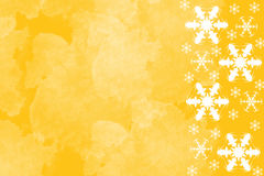 Bright yellow background with white snowflakes. Picture of bright yellow background with white snowflakes border on right side. Festive winter theme page layout Royalty Free Stock Photography