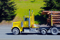 Bright yellow big rig semi truck cargo logs Royalty Free Stock Photos