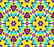 Bright Yellow Blue Flower Fractal Pattern Royalty Free Stock Photography